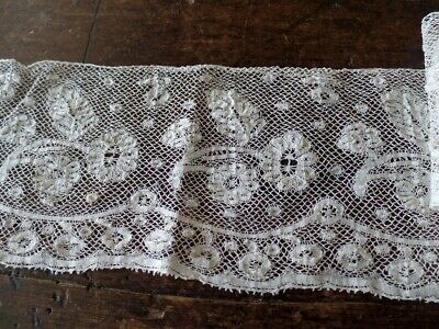 Ancienne Dentelle Couture Mercerie Embroidery Ruban 9.3 Cm X 1.8 Metres A4