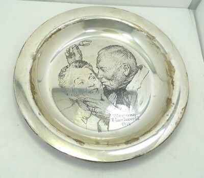 Franklin Mint Sterling Silver Limited Edition Norman Rockwell Plate A7159