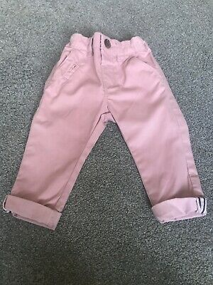 Boys Baby Next Age 6-9 Months Pink Chino Trousers With Adjustable Waist