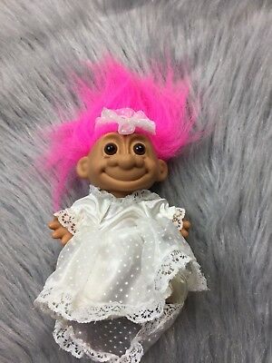 Vtg Russ Troll Doll Pink Hair White Swiss Dot Wedding Bride Bridal Lace Trim