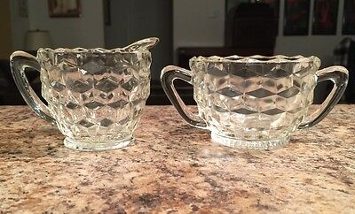 Small Diamond Cut Pressed Glass Vintage Creamer And Sugar Bowl