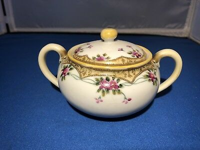 Hand Painted M Nippon Vintage Moriage Gold With Roses Sugar Bowl Pretty