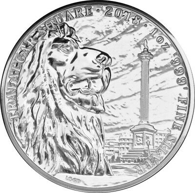 1 oz argent 2018 ROYAUME-UNI once LION TRAFALGAR SQUARE ANGLETERRE 2£ pounds P2