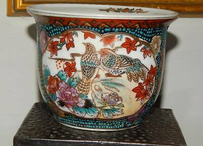 Vintage Chinese Hand Painted Porcelain Moriage Beading Planter Pot Bird & Floral