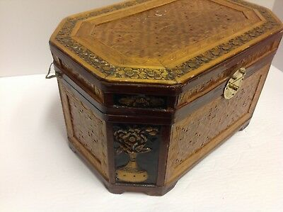 Vintage Chinese wooden carved large box ornate flowers box