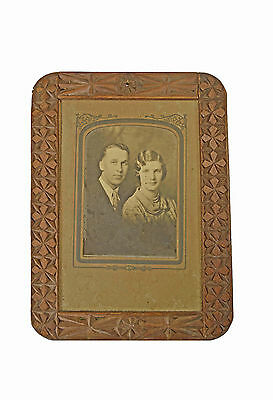 Antique Frisian Chip Carved Double Sided Picture Frame, Dutch / Netherlands.