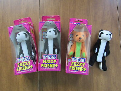 Pez Fuzzy Friends Mixed Lot Of 4 Packaged And Loose Candy Dispensers A11807