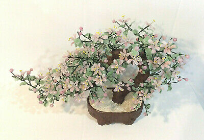 "Vintage Pink Cherry Blossom Jade Glass Bonsai Tree Large 26"" Wide 16"" Tall"