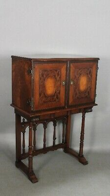 Spanish Revival Tudor Carved Walnut Cabinet 1920s With Lots of Storage (11738)