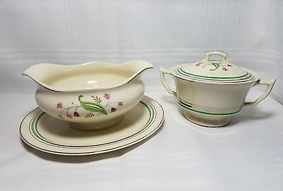 "Vintage Old Ivory Syracuse China ""Coralbell"" Pattern - Gravy Boat And Sugar Bowl"