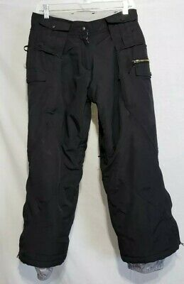 Pulse Mens Black Insulated Cargo Snowboard Ski Pants Size Small