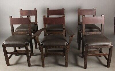 Set Of 6 Signed Monterey Chairs W/ Iron Strapping New Leather Upholstery (11739)