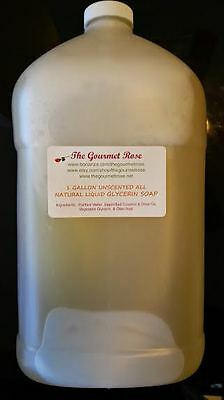 GALLON 100% ALL NATURAL UNSCENTED LIQUID SOAP Glycerin Shower Gel Bath Body Wash