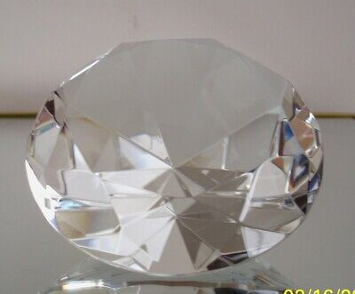"""Clear Crystal Glass Diamond Jewel Huge Paperweight 4"""" 100mm"""