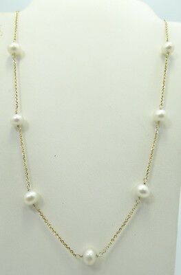"""Dainty 14K Yellow Gold 6mm Pearl Rolo Link Chain Necklace 16.5"""" 4.7g A1913"""