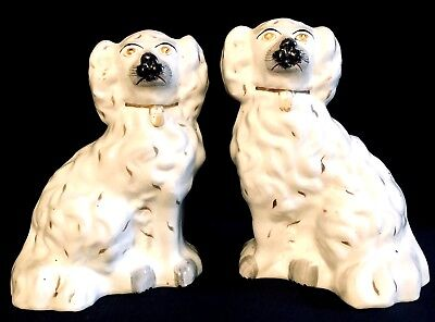 """Matched Pair of Antique Staffordshire """"Chunky"""" Spaniel Dog Figurines Circa 1870s"""