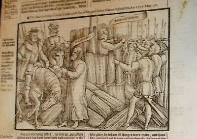 1570-Foxe's Book of MartyrsMartyrdom of John Cardmaker-Folio-Rare-Engraving