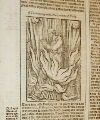 1570-Foxe's Book of Martyrs-Death of Kerby-Beautiful Leaf-Folio-Rare-Engraving