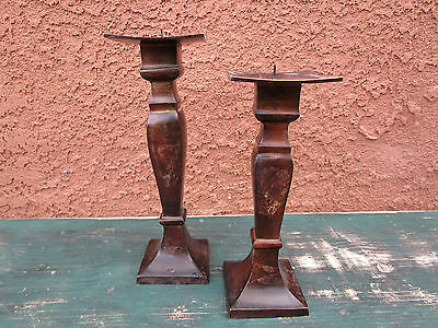 Pair Of Matching Cast Iron Brown Rustic Metal Candle Votive Holders