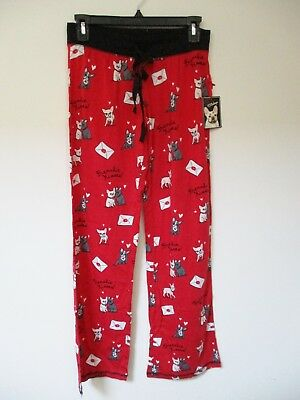 Pj Salvage SWAK Frenchie Kisses French Bulldogs PAJAMAS Pants XS RED Knit NWT