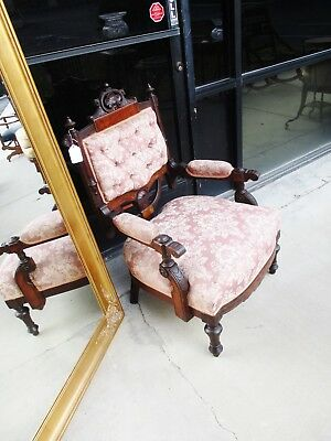 Unusual 19Th Century Renaissance Revival Victorian Walnut Parlor Arm Chair