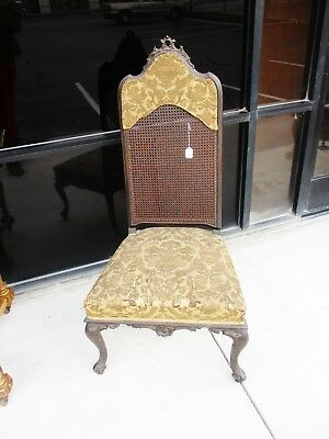 1920's Country French Jacobean Victorian High Cane Back Hall Chair