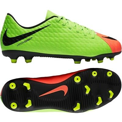 7b5d0ad34bd97 NIKE JR HYPERVENOM Phade III FG Soccer Cleats Sz 4Y Green Orange 852580-308