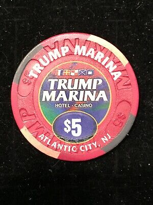 Trump Marina Casino $5 Chip Atlantic City New Jersey Poker Blackjack Vintage