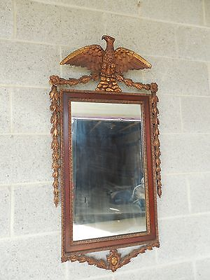 "Antique Mahogany Federal Style Mounted Carved Eagle Mirror 39.25""H x 20""W"