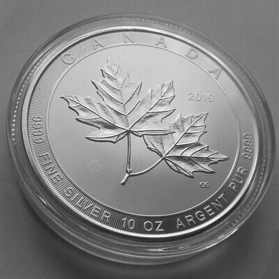 "10 oz. Silber 999.9 ""Magnificent Maple Leaf 2019 in Münzkapsel (2 kl. Kratzer)"