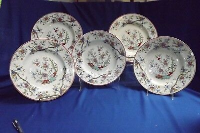 """Early RIDGWAY ASSAM MULTI COLORED TRANSFER-WARE 5 LUNCHEON 9 ¼"""" PLATES C.1860S"""