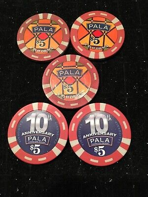 Pala Casino Lot Of 5 Chip $5 Chips Pala, California Poker Blackjack Vintage