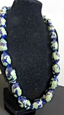 Vintage Estate Chinese Cloisonne Big Oval Beads Necklace Blue Green Flowers