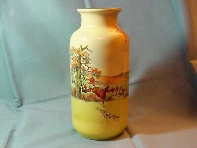 Royal Doulton Series Ware Fox Hunting Scene - Tall Vase - D5104
