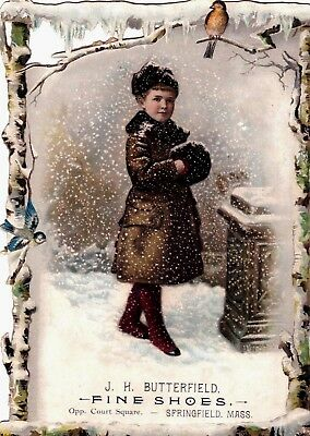 Antique Victorian Advertising Die Cut Trade Card Girl W/ Muff Holiday Winter.