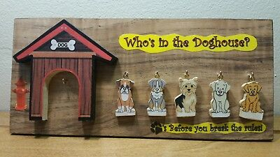Who's in the Doghouse-Family of 5 Assorted Dogs Mini Plaque Made in the USA