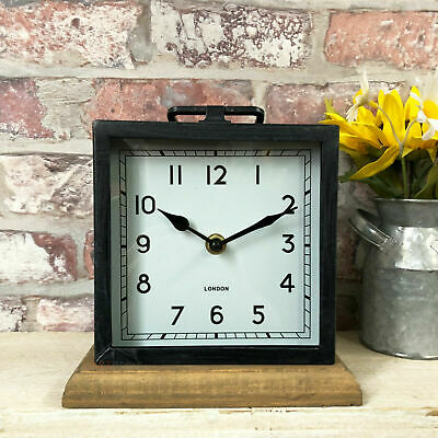 Square Mantle Clock Wooden Base Metal Free Standing Table Desk Home Office Decor
