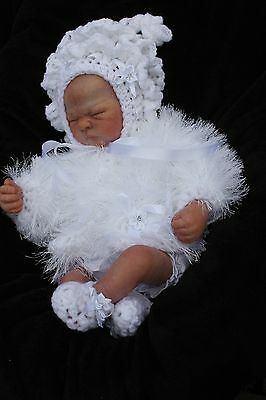 hand knitted baby girl white  fur jacket , frilly  bonnet  booties    set   0/3m