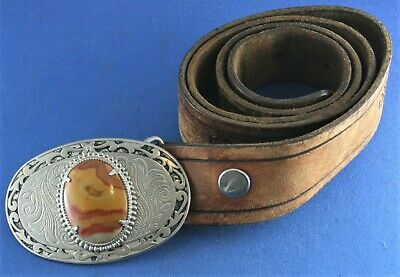 """Stone and Silver Belt Buckle 3-1/2"""" wide"""