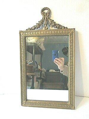 "Small  17"" Antique Gold French Regency Rococo Wall Mirror"