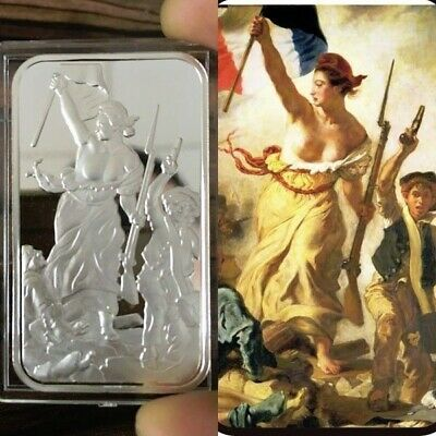Liberty Leading the People design. 1 Troy oz .999 Solid Fine silver bar. NEW!