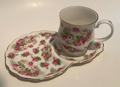 CROWN VICTORIAN Fine Bone China England Pink Roses Snack Set or Tennis Set Exc.