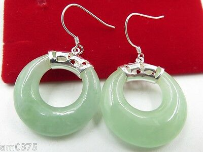 Fine Classic 925 Sterling Silver & Jade Beautiful Circle Earring
