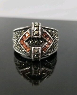 Art Deco 1920s 1930s German Marcasite And Gem Stone Sterling Silver Ring