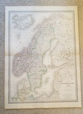 "19th Century C1863 Scandinavia Denmark Map 33""X24"" Thick Paper Hand Colored"