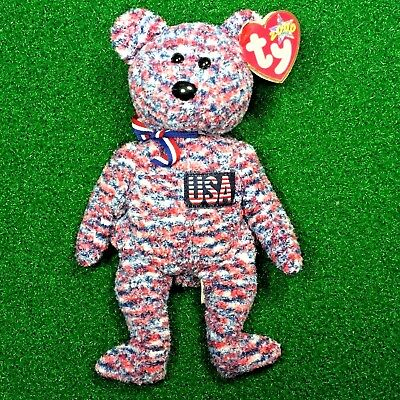 NEW Ty Beanie Baby USA The Patriotic Bear Retired God Bless America - MWMT