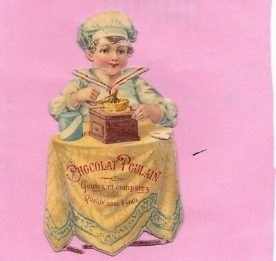 "Antique Victorian Trade Card  ""Chocolate"" Die Cut Scrap Boy Grinding Chocolate."