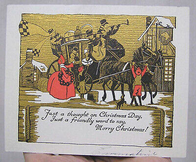 Vintage Art Deco Christmas Card Stagecoach Holiday Passengers Gold