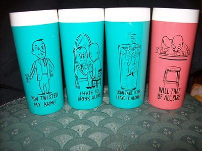 SET OF 4 VINTAGE NFC THERMAL TUMBLERS 10oz. WITH FUNNY BAR/ALCOHOL SAYINGS