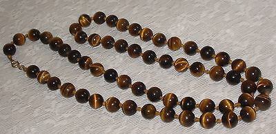 """Antique tiger eye chic long strand beaded necklace 31"""" long 11mm"""